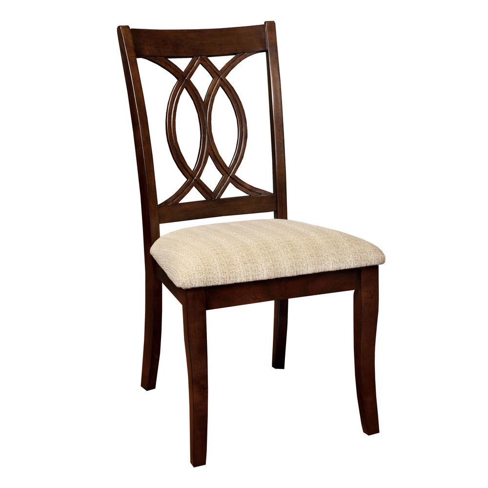 Furniture of America Leon Brown Cherry Fabric Geometric Side Chair (Set