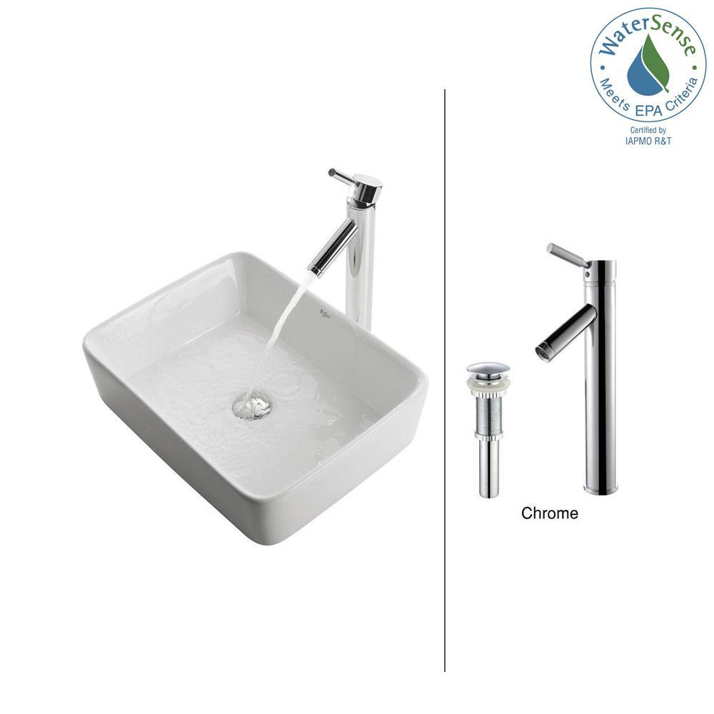 Square Ceramic Vessel Sink in White with Sheven Faucet in Chrome