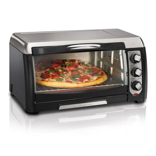6 Slice Easy Clean Black Toaster Oven with Convection