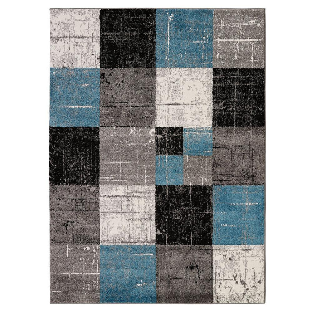 City Collection Contemporary Faded Geometric Checkered Grey Black 5 ft. x