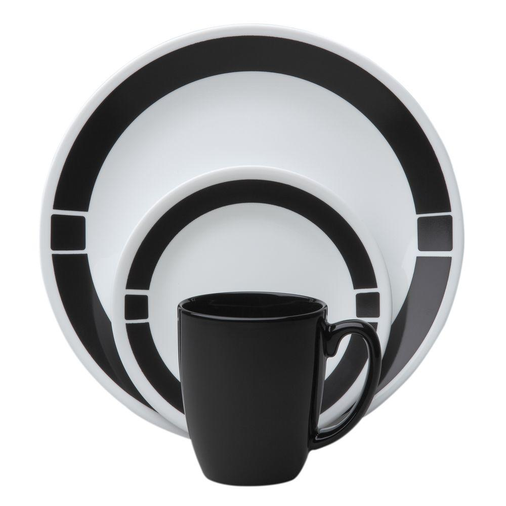 corelle livingware urban black 16 piece vitrelle dinnerware set 1060501 the home depot. Black Bedroom Furniture Sets. Home Design Ideas