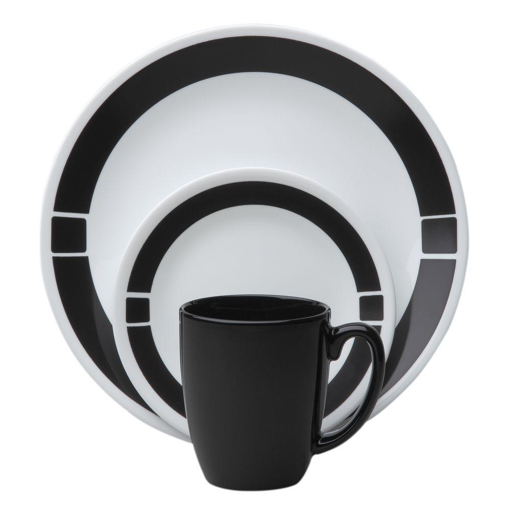 Livingware Urban Black 16-Piece Vitrelle Dinnerware Set