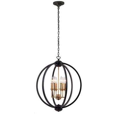 6-Light Matte Black Chandelier