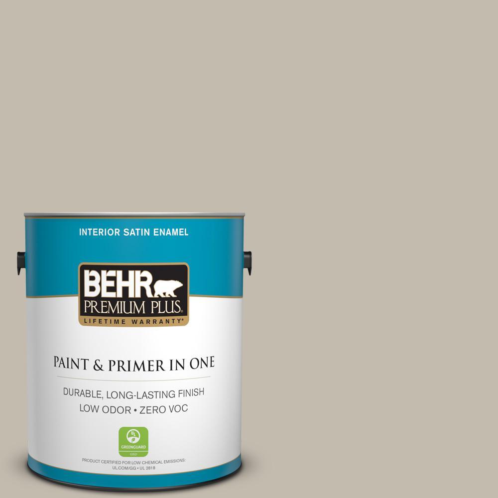BEHR Premium Plus 1 gal. #ECC-46-1 Sierra Madre Satin Enamel Zero VOC Interior Paint and Primer in One