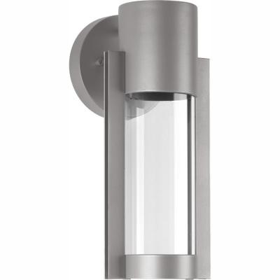 Z-1030 Collection 1-Light Metallic Gray 12 in. Outdoor Integrated LED Wall Lantern Sconce