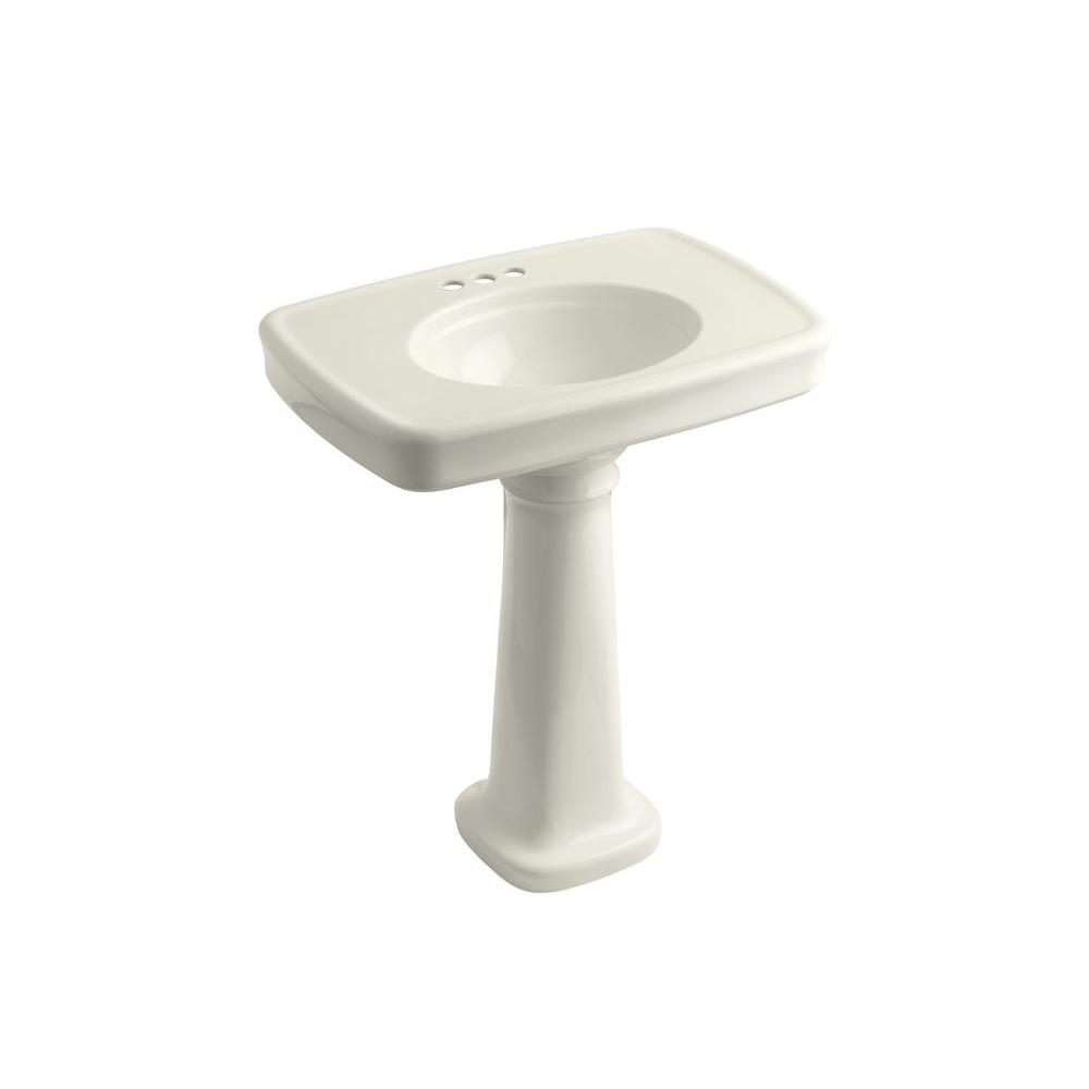 KOHLER Bancroft Vitreous China Pedestal Combo Bathroom Sink in Biscuit with Overflow Drain