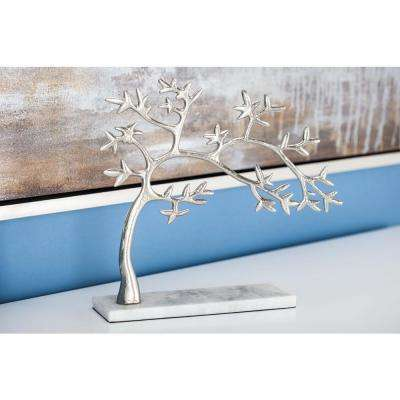 11 in. Tree Decorative Sculpture in White and Silver