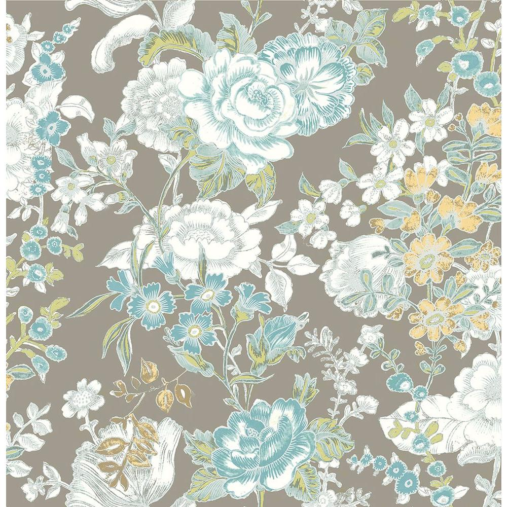Ainsley Grey Boho Floral Wallpaper Sample