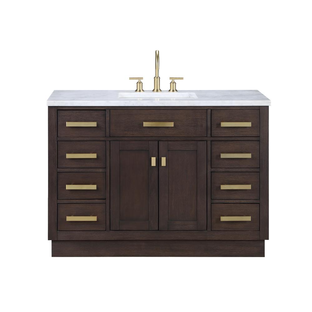 Water Creation Chestnut 48 in. W x 21.5 in. D Vanity in Brown Oak with Marble Vanity Top in White with White Basin was $1428.0 now $1139.0 (20.0% off)