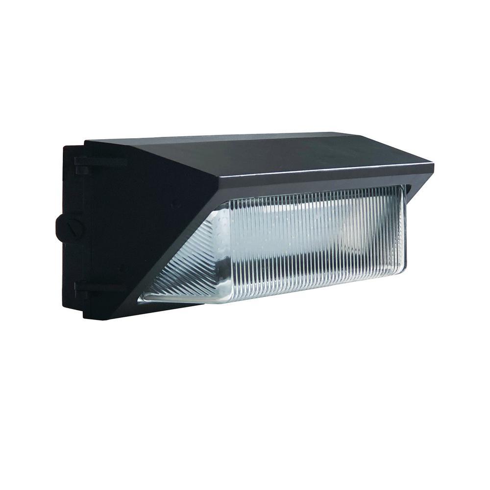 60-Watt Dark Bronze Outdoor Integrated LED Dimmable 120-277V Dusk to Dawn Medium Wall Pack Light Cool White 4000K 10160