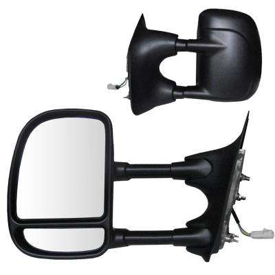 Towing Mirror for 99-00 Ford F250/F350/F450/F550 Super-Duty Pick-Up Extending Textured Black Folding Pair Power