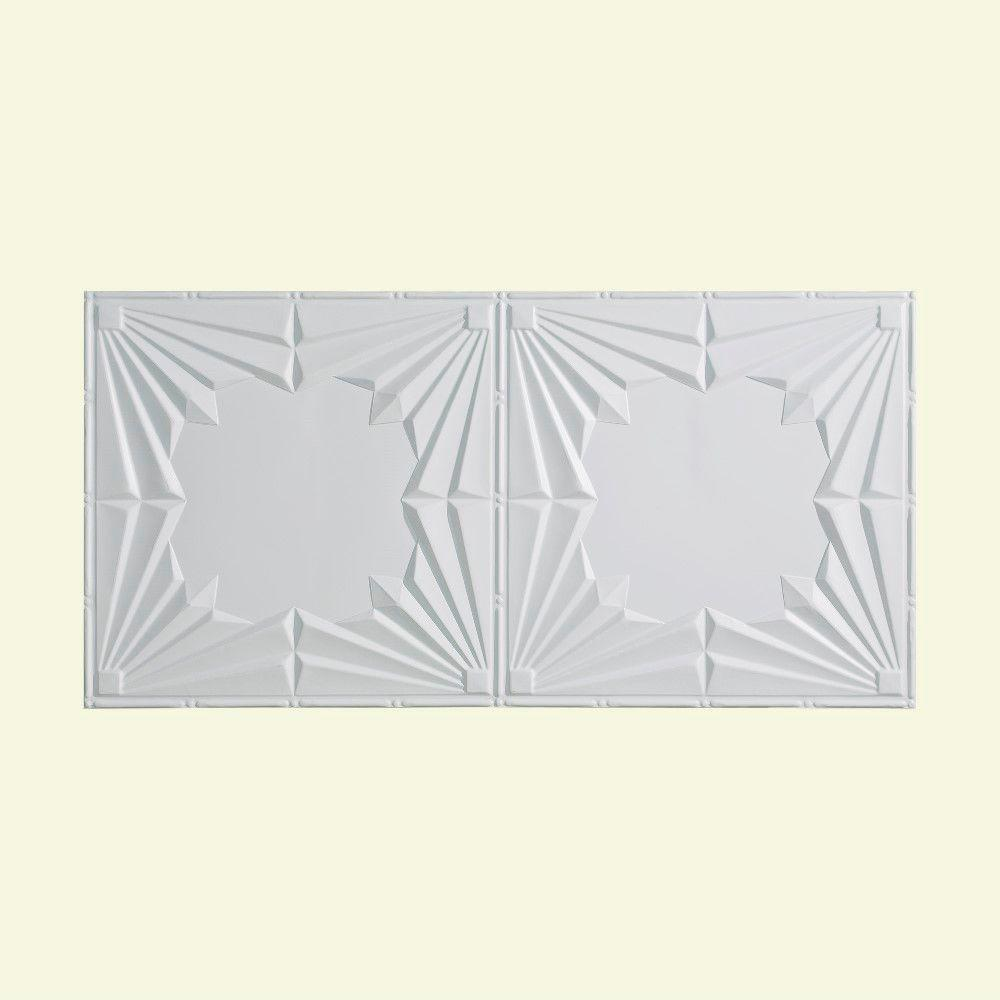 Fasade Art Deco - 2 ft. x 4 ft. Glue-up Ceiling Tile in Gloss White