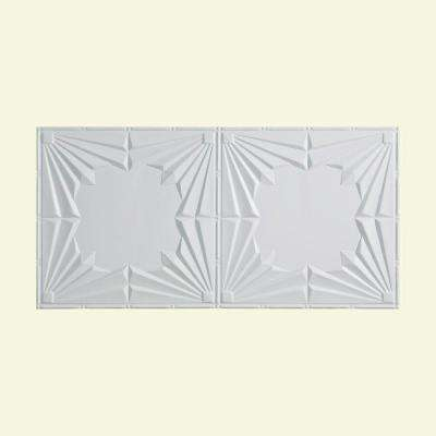 Art Deco - 2 ft. x 4 ft. Glue-up Ceiling Tile in Gloss White