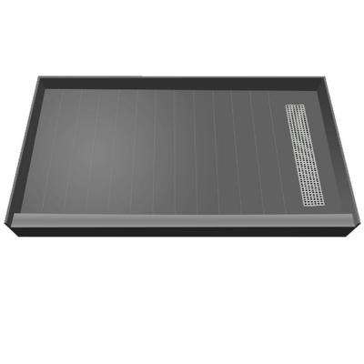 32 in. x 60 in. Single Threshold Shower Base in Grey with Right Drain and Brushed Nickel Trench Grate