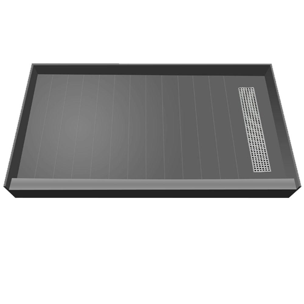 Redi Trench 33 in. x 60 in. Single Threshold Shower Base with Right Drain and Brushed Nickel Trench Grate