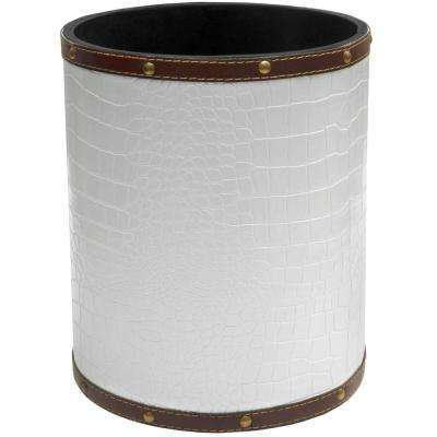Oriental Furniture 8.25 in. x 10 in. White Faux Leather Waste Basket