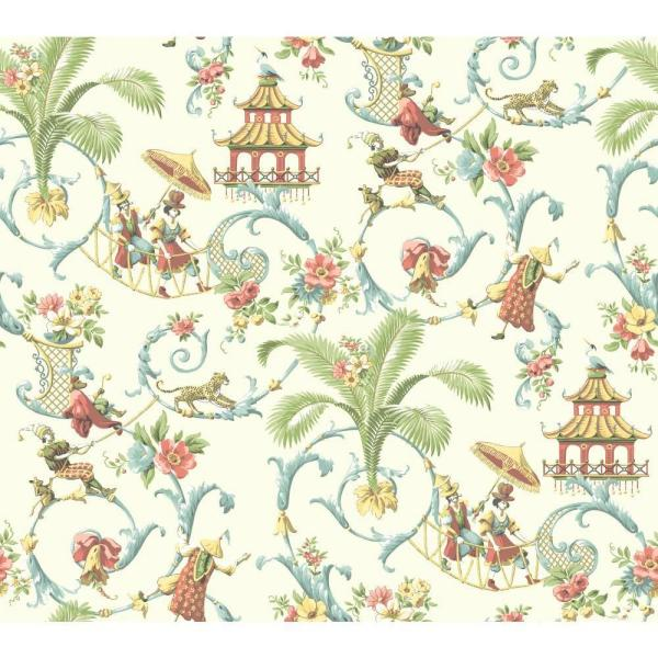 York Wallcoverings Waverly Classics Mandarin Prose Wallpaper