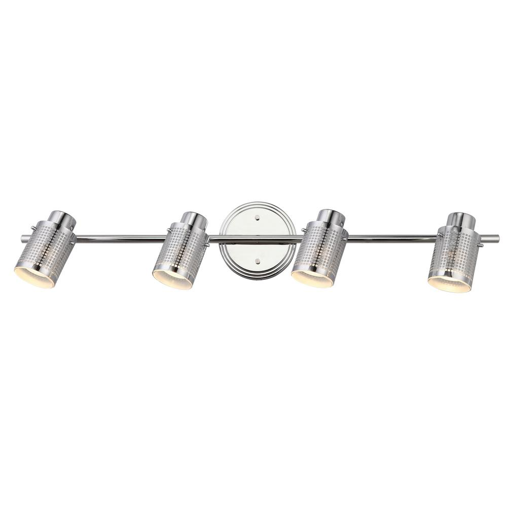 Anita 29 in. 4-Light Chrome Track Lighting Fixture with Frosted Glass
