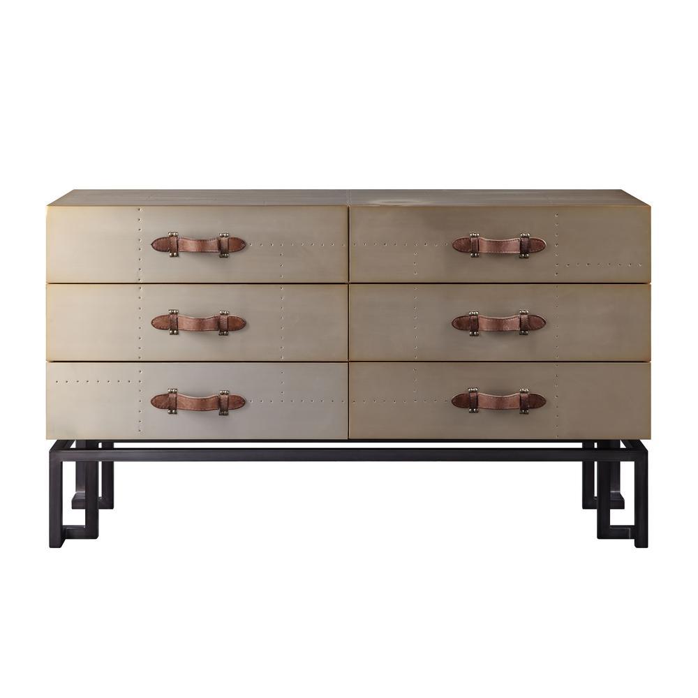 Jennavieve Gold Aluminum Console Table