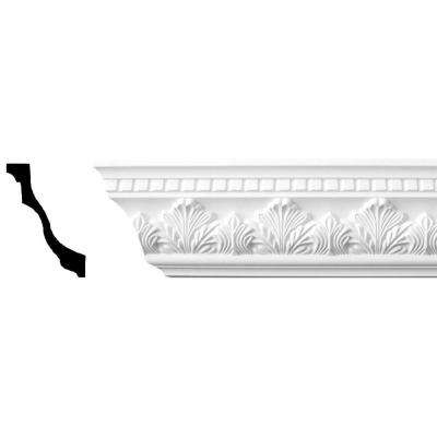 94-1/2 in. x 3-1/8 in. x 4-1/2 in. Acanthus Polyurethane Crown Moulding