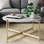 Piper 36 in. White/Gold Medium Round Faux Marble Coffee Table