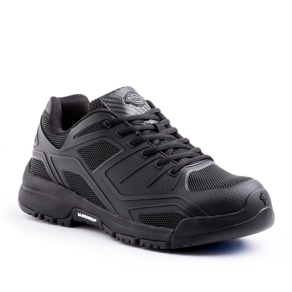 Dickies Men S Stride Black Leather Mesh Steel Toe Work Shoe