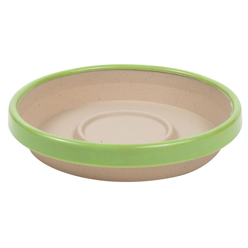 Terra 2 Tone 12 in. Taupe with Honey Dew Plastic Saucer