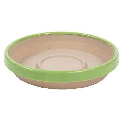 Terra 2 Tone 8 in. Taupe with Honey Dew Plastic Saucer