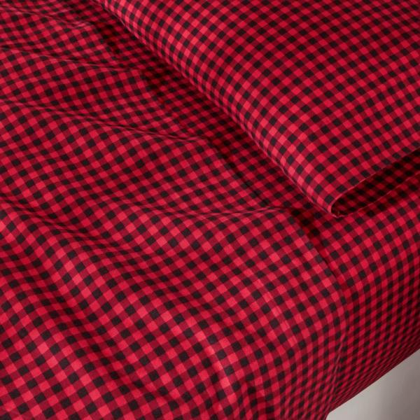 Home Decorators Collection Cotton Flannel 4 Piece Queen Sheet Set In Red Buffalo Check Snqnchec The Home Depot