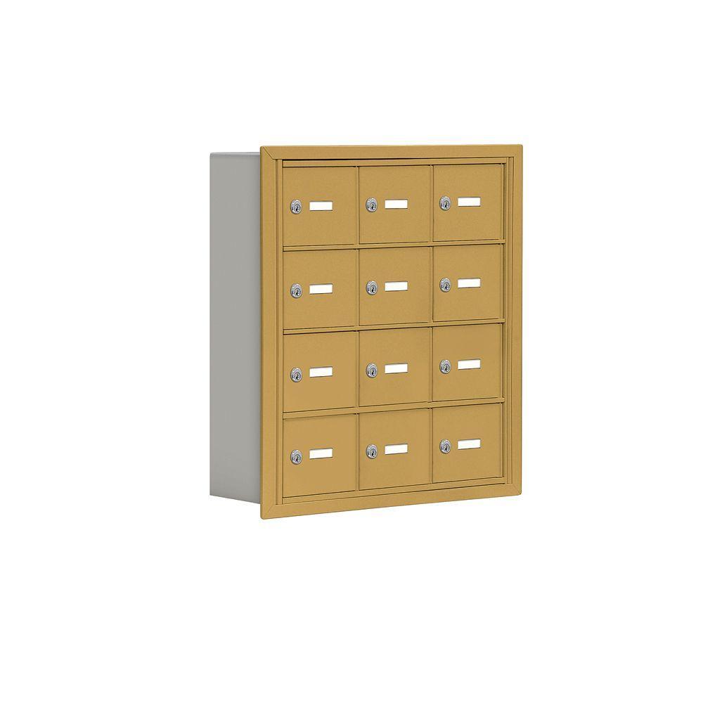 19000 Series 24 in. W x 25.5 in. H x 5.75 in. D 12 A Doors R-Mount Keyed Locks Cell Phone Locker in Gold