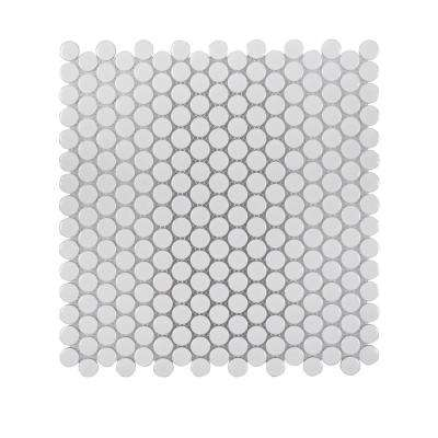 Glossy Pearls 11.375 in. x 12.25 in. x 6 mm Porcelain Mosaic Tile