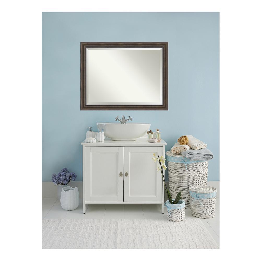 Rustic Pine Wood 46 in. W x 36 in. H Single Distressed Bathroom Vanity Mirror