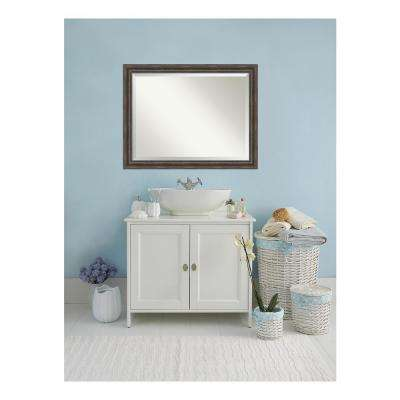 Rustic Pine Wood 46 in. W x 36 in. H Single Distressed Bathroom Vanity Mirror