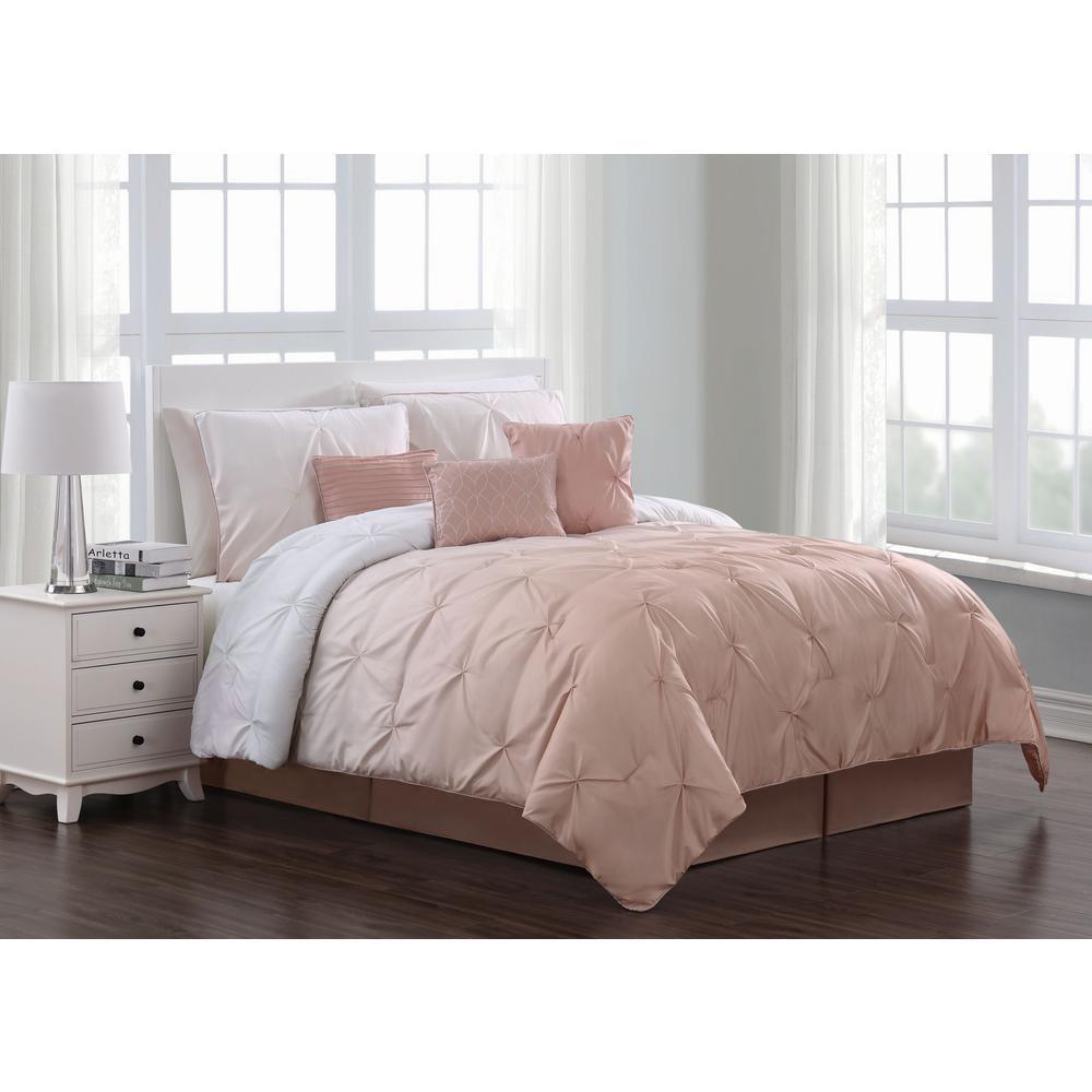 Bergen Ombre 7-Piece Blush Queen Comforter Set