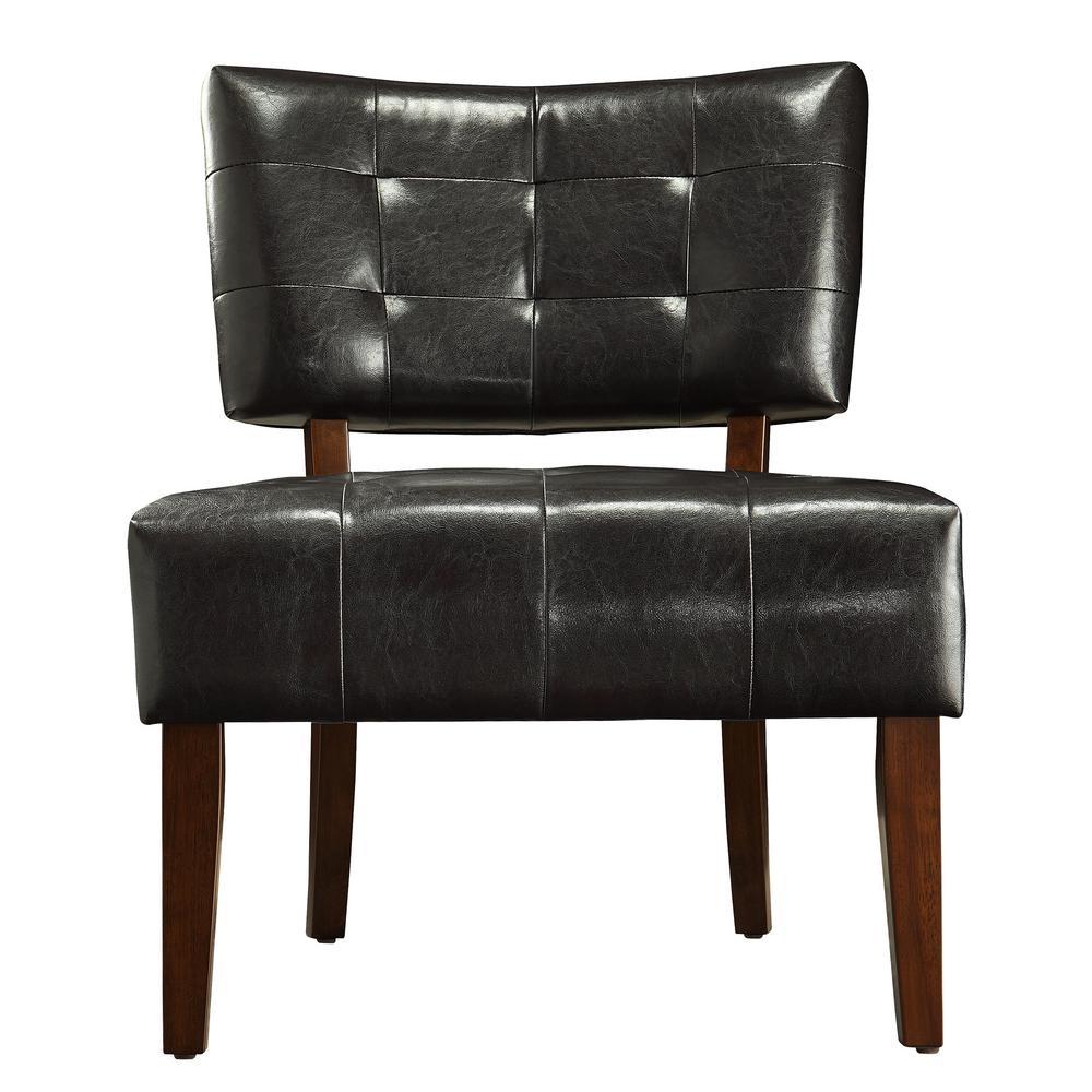 HomeSullivan Dark Brown Vinyl Accent Chair 40850S451W(3A)