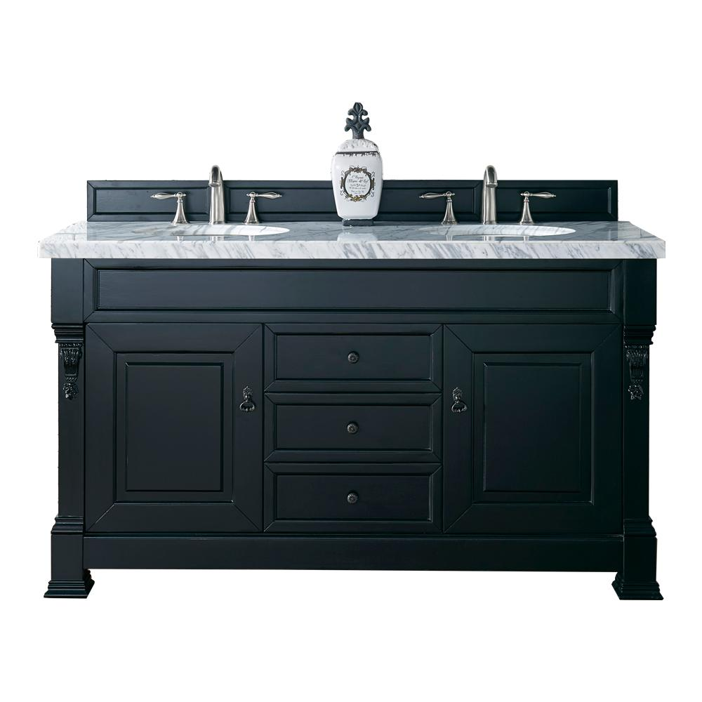 Brookfield 60 in. W Double Vanity in Antique Black with Marble