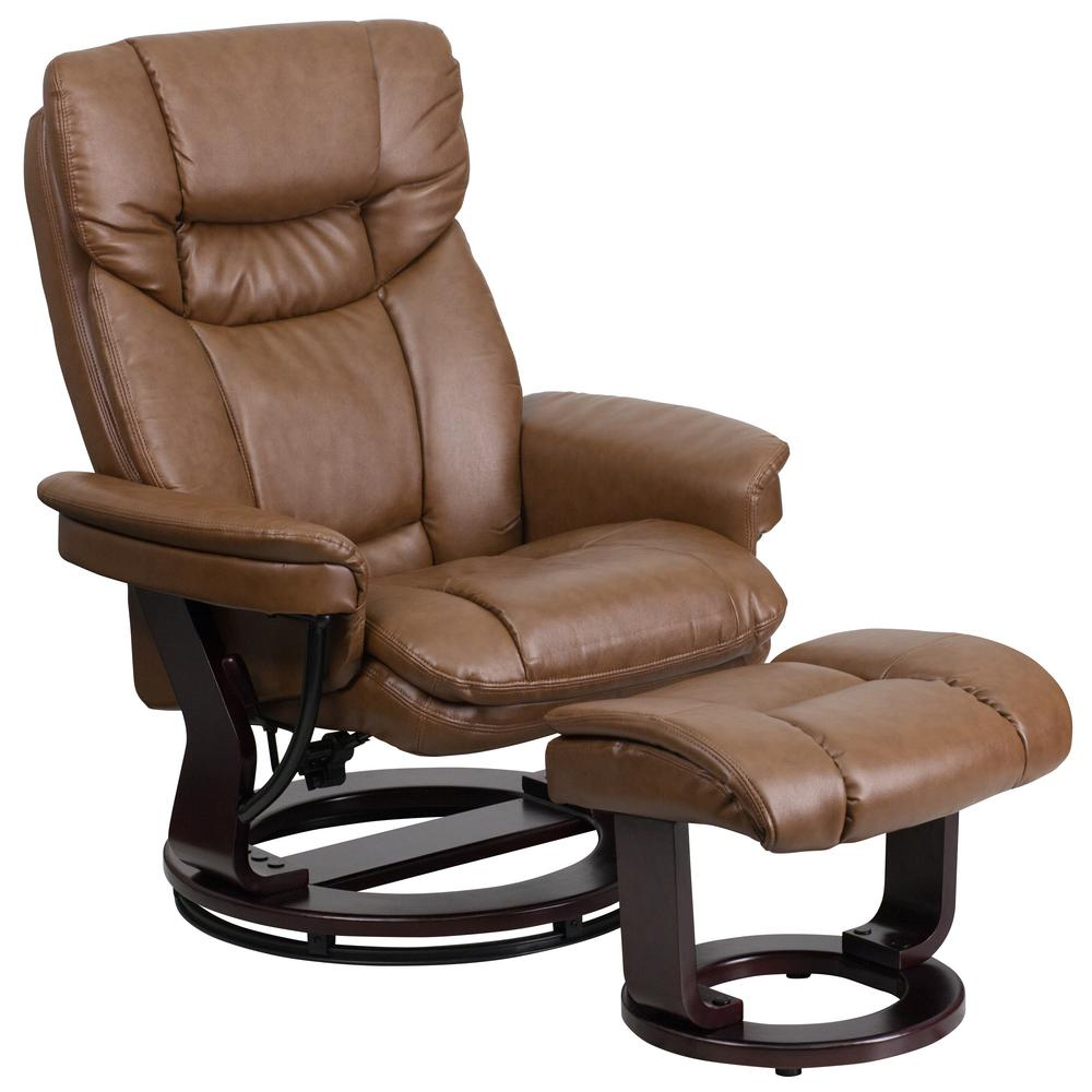 Superbe Flash Furniture Contemporary Palomino Leather Recliner And Ottoman With  Swiveling Mahogany Wood Base
