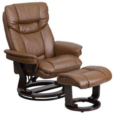 Contemporary Palomino Leather Recliner and Ottoman with Swiveling Mahogany Wood Base