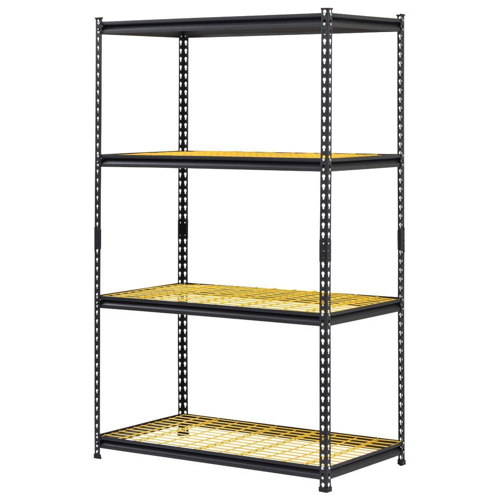 24 in. D x 44 in. W x 72 in. H Black/Yellow Steel 4 Tier Garage Shelving Unit