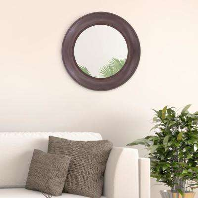 Rustic Round Rustic Brown Wall Mirror