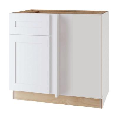 Newport Assembled 42x34.5x24 in. Plywood Shaker Blind Corner Base Kitchen Cabinet Rt Soft Close in Painted Pacific White