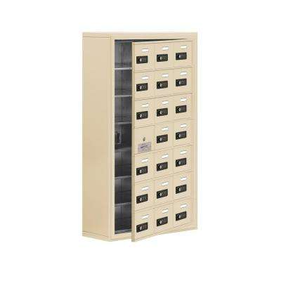 19100 Series 24 in. W x 42 in. H x 9.25 in. D 20 Doors Cell Phone Locker Surface Mount Resettable Lock in Sandstone