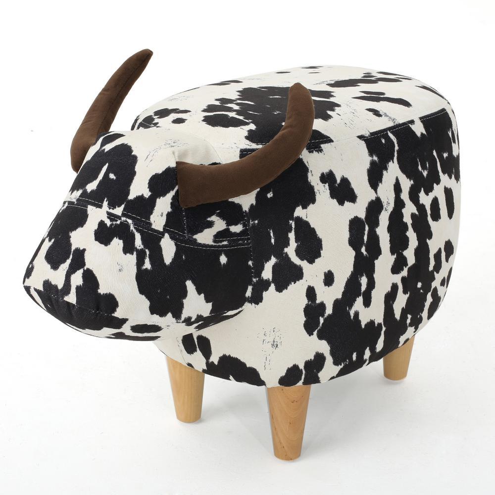 Brown Milk Cow-Patterned New Velvet Ottoman