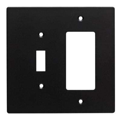 Subway Tile Decorative Switch and Rocker Switch Plate, Flat Black