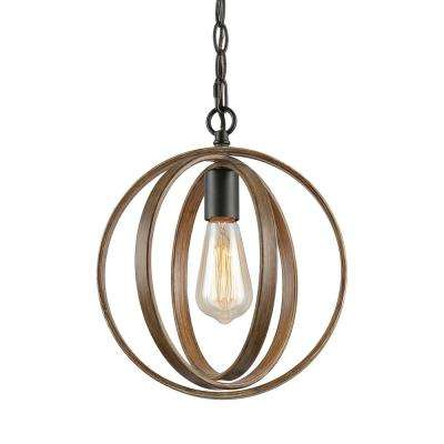 Eniso 1-Light Black Orb Pendant with Distressed Pine Globe