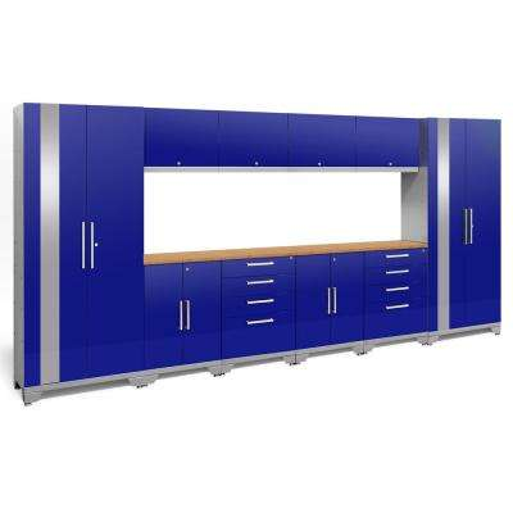 Performance 2.0 72 in. H x 156 in. W x 18 in. D Garage Cabinet Set in Blue (12-Piece)
