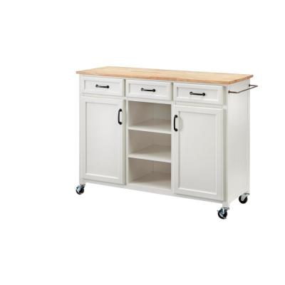 Home Decorators Collection Ivory Wood Kitchen Island with Natural Butcher Block Top (48 in. W x 36 in. H)