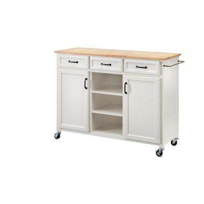 Home Decorators Collection Ivory Kitchen Cart with Butcher Block Top