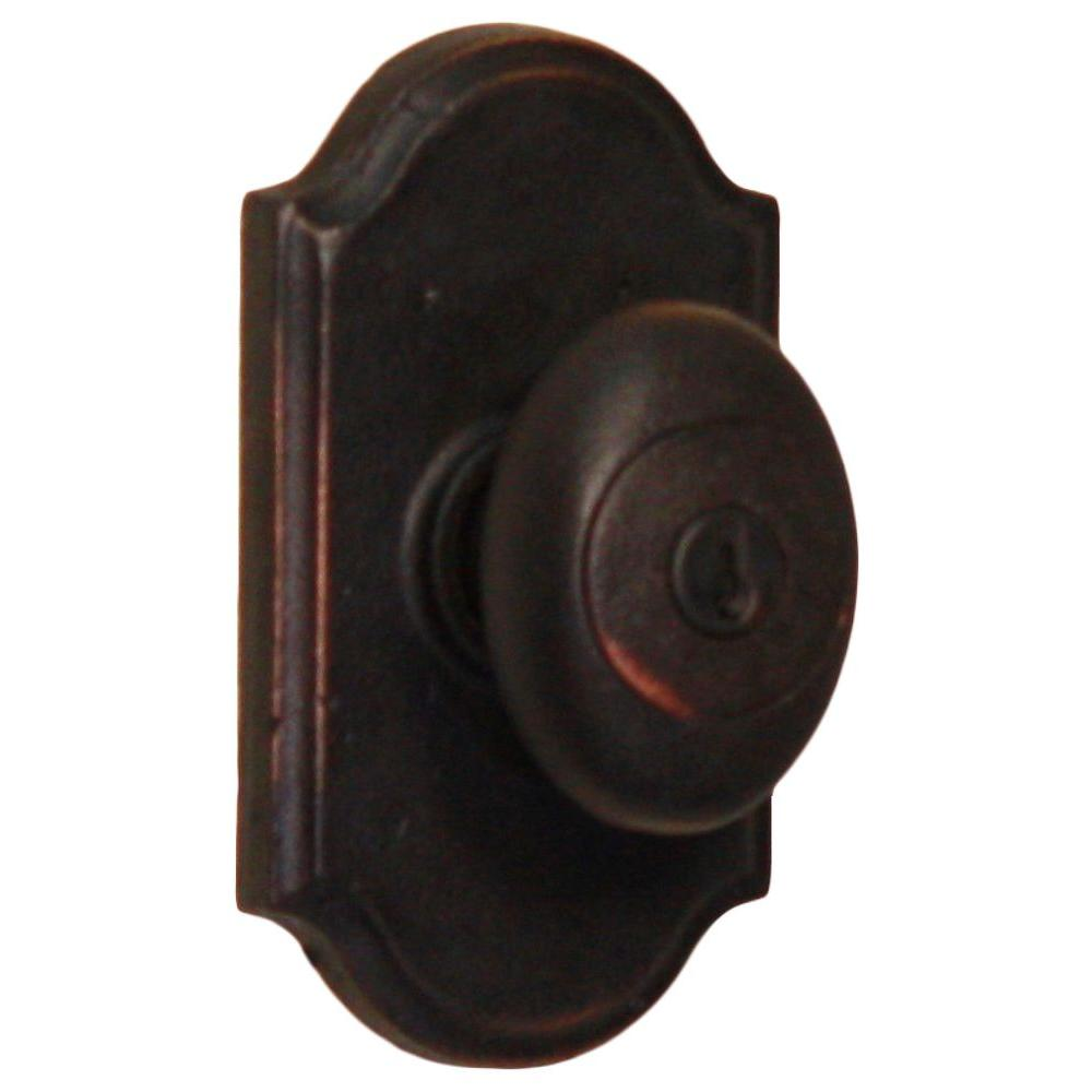 Weslock Molten Bronze Oil-Rubbed Bronze Premiere Keyed Entry Durham Knob