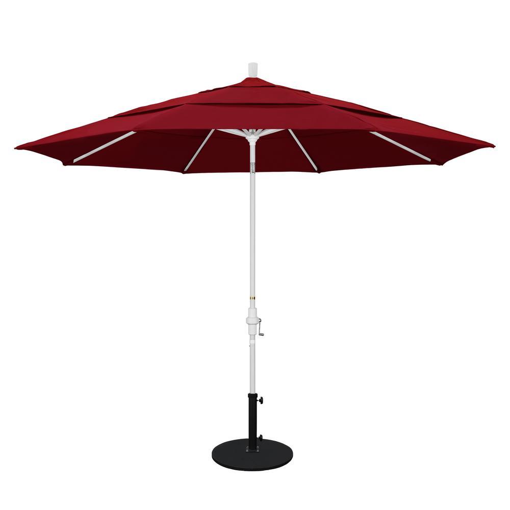 11 ft. Aluminum Collar Tilt Double Vented Patio Umbrella in Red